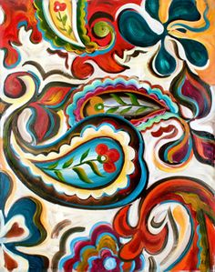 """Like a Bohemian version of Pennsylvania Dutch folk art, """"Festival I"""" swirls with bright patterns and colors."""