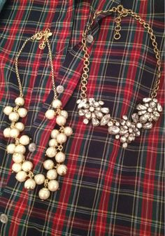 Plaid Shirt + Statement Necklace