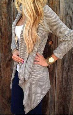 Apricot Plaid Draped Irregular Chunky Open Front Long Sleeve Loose Cardigan Sweater - Cardigans - Sweaters - Tops