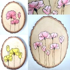 Wood burned poppies wall art,One of a kind wood burned wall art. Handmade by Two Rabbits Art. Wonderful addition to your home or the perfect gift! See options and sizes via the Et. Wood Burning Crafts, Wood Burning Patterns, Wood Burning Art, Painted Ornaments, Wooden Ornaments, Painted Rocks, Hand Painted, Little Presents, Rabbit Art