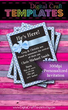 Personalized Printable Invitations | Blue | Baby Gift | Baby Shower | Birth Announcement |  #62c