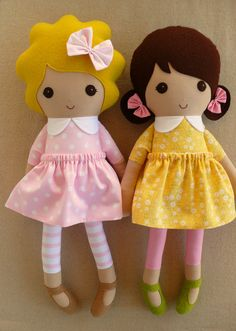 Reserved for Holly - Fabric Dolls Rag Dolls Blond and Brunette Girls in Pink and Yellow Dresses