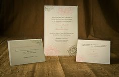 Gray and Pink Flowers Wedding Invitation