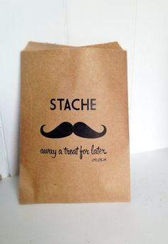 Personalized Candy Bags for Candy Bar - Rustic Wedding Kraft Paper Treat or Customized Popcorn Bags. Hipster Mustache Candy Bags Favor