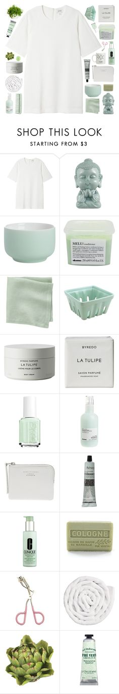 """""""♡ no one ever said it would be this hard"""" by lie-ability ❤ liked on Polyvore featuring Monki, CB2, Davines, Byredo, Essie, The Webster, Aesop, Clinique, Branche d'Olive and Etude House"""