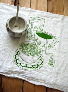 Screen Printed Organic Cotton Flour Sack Towel  by ohlittlerabbit, $10.00
