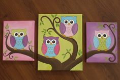 Cute owl canvas paint idea for wall decor. Cute birds on tree branch. Canvas painting. Wall art. Multiple canvas.