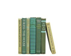 OLIVE GREEN Vintage 1950s Decorative Books, Book Wedding Decor, Centerpiece Decorating for Color, Home Decor, Book Stack, Collection Aqua
