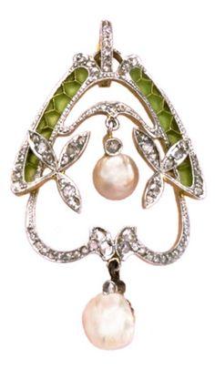 An Art Nouveau Diamond, Pearl and Enamel Pendant, Europe, circa 1900. Platinum over 18 carat gold, with plique-à-jour enamel and two pendant pearls. #ArtNouveau #pendant