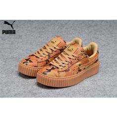 adbe356c289 Men s Women s Fenty Puma by Rihanna Leather Creepers Shoes Brwon Orange Camo