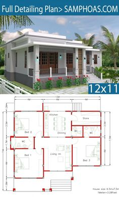 House Design with Full Plan 3 Bedrooms - SamPhoas Plan House Layout Plans, Bungalow House Plans, Bungalow House Design, Cottage House Plans, Bedroom House Plans, Dream House Plans, Small House Plans, House Layouts, House Floor Plans
