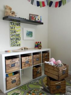 - The answer to finding a space saving home furniture and an affordable one is the wooden storage shed kits. This is perfect for people who enjoy gettin. Diy Toy Storage, Crate Storage, Kids Storage, Ikea Storage Bins, Toy Storage Furniture, Living Room Toy Storage, Playroom Storage, Storage Area, Space Saving Furniture