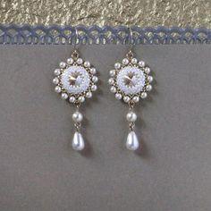 Gold pearl drop earring Bridal crystal earrings Bridal drop