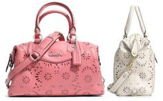 Coach Ashley Lace Leather Carryall Rose/Silver Handbag/Shoulder Bag F21883 NWT