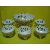 Jogo De Sobremesa / Saladeira Em Porcelana Amparo