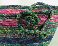 Pink Blue and Teal Crazy Mardi Gras Coiled Fabric by kre8ivLizard, $26.00 Etsy