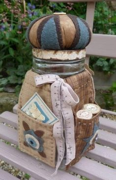 Sewing kit in a jar - pincushion topper too! Great gift for a Bride, or for YOU!