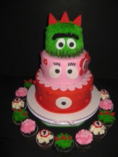 Girly Yo Gabba Gabba Birthday Cake combo By SusanReis on CakeCentral.com