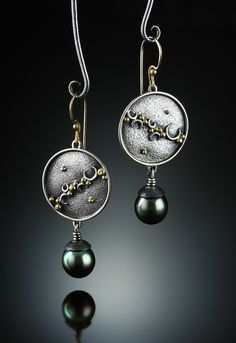 South Sea Pearl Earrings. Fabricated Sterling Silver, 14k and 18k. www.amybuettner.com https://www.facebook.com/pages/Metalsmiths-Amy-Buettner-Tucker-Glasow/101876779907812?ref=hl https://www.etsy.com/people/amybuettner http://instagram.com/amybuettnertuckerglasow