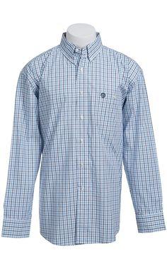 George Strait by Wrangler Long Sleeve Men's Plaid Shirt MGS013B