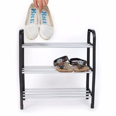 우수한 3 계층 플라스틱 신발 랙 스토리지 주최자 선반 스탠드 홀더 단위 빛 FG