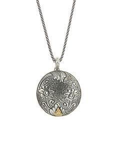 This Two-Tone Round Floral Pendant Necklace