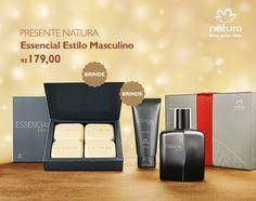 Presente Natura Essencial Estilo Masculino - Deo Parfum + Gel pós Barba + Sabonete em Barra + Embalagem Desmontada