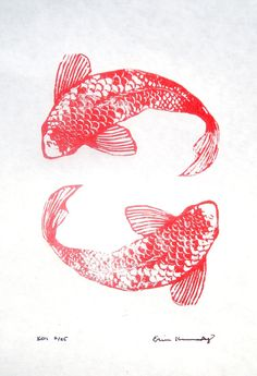 Original Linocut Koi by SonAtelier on Etsy, $55.00