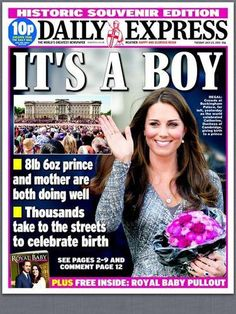 """princessdianabookboutique:  Daily Express Cover-""""IT'S A BOY"""""""
