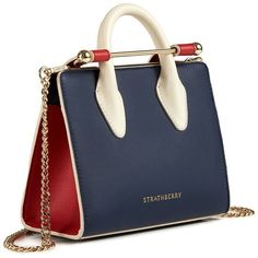 The Strathberry Nano Tote Tri Colour Navy/Ruby/Vanilla ❤ liked on Polyvore featuring bags, handbags, tote bags, mini handbags, blue tote bags, navy tote, navy tote bag and blue tote