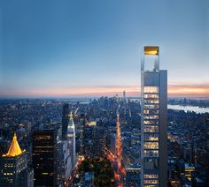 Russian architecture firm, Meganom has been brought on to design the supertall, and this will be the firm's first U. project to date. New York Architecture, Russian Architecture, Modern Architecture, Modern Buildings, Shop Architects, Cities, Nyc Real Estate, Manhattan New York, Tours