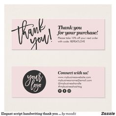 Shop Elegant script handwriting thank you blush pink created by moodii. Small Business Cards, Business Thank You Cards, Business Card Design, Etsy Business Cards, Thank You Card Design, Thank You Card Template, Clothing Packaging, Jewelry Packaging, Fashion Packaging