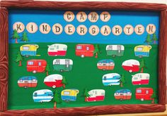 Vintage style campers for the hall bulletin board. Each student will have their own camper… add their names on a sign post by each camper. Camping B… - Decoration For Home