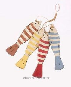Peces decorativos de colores en madera para colgar - Decoración ná…