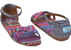 Daydream of warmer days and springy styles with TOMS Pink and Blue Chambray Stripe Mix Women's Correa Sandals