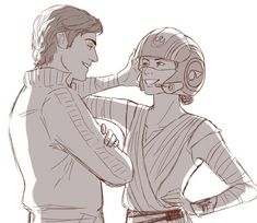 Poe and Rey by milady666. Really love her Star Wars fan art, it's the best I've seen yet!