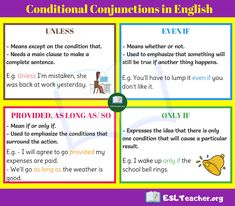 Using Conditional Conjunctions in Sentences Learn English For Free, Improve Your English, English Sentences, English Grammar, Complete Sentences, English Language Learning, English Class, Esl, Infographics