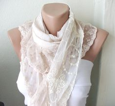 Beige  Scarf  from  coton with ruffle tulle by Periay on Etsy, $20.00
