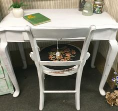 """Vintage desk, $69, 37"""" wide x18""""deep, needlepoint seat chair, $21 from dealer LM79 at The Rusty Chandelier.  We are packed full of fantastic furniture, vintage finds, home decor and gifts, many one of a kind created or recreated by our talented vendors. An eclectic mix of old and new treasures. Come explore for yourself! Open everyday 9-6!  I-29 and Highway 71, St. Joseph, MO"""