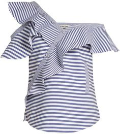 SELF-PORTRAIT One-shoulder striped cotton top