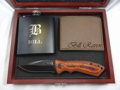 High quality Groomsmen Gift Box Set with Rosewood Finish Gift Box, Matte Black Flask with Silver Engraving, Dark Brown Leather Wallet and Wood handle Folding Knife with Black Engraving Best Groomsmen Gifts, Groomsman Gifts, Personalized Gifts For Men, Engraved Gifts, Engraved Shot Glasses, Groomsmen Proposal, Groomsmen Invitation, Engraved Pocket Knives, Bachelorette Party Games
