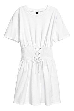 T-shirtjurk met rijgdetail - Wit - DAMES   H&M NL 1