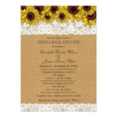 Shop Burlap Rustic Sunflowers rehearsal dinner invites created by Invitationboutique. Outdoor Wedding Invitations, Shabby Chic Wedding Invitations, Sunflower Wedding Invitations, Rehearsal Dinner Invitations, Rehearsal Dinners, Wedding Rehearsal, Invitation Cards, Invites, Personalized Wedding