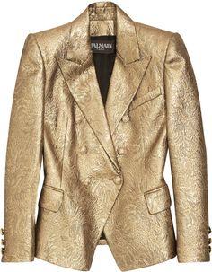 BALMAIN. Gold Metallic Brocade Jacket.