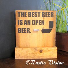 Beer Bar Sign Bottle Opener and Cap Catch Gift Idea
