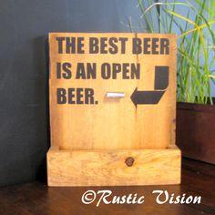 Beer Bar Sign Bottle Opener and Cap Catch Gift Idea