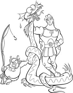 Hercule fighting against a dragon and win. A beautiful coloring page about the famous Disney movie Hercule. Monster Coloring Pages, Coloring Pages For Boys, Cartoon Coloring Pages, Disney Coloring Pages, Free Printable Coloring Pages, Coloring Book Pages, Coloring Sheets, Disney Art, Disney Pixar