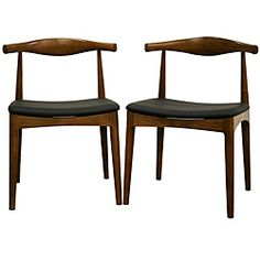 @Overstock - With a retro-inspired design and tastefully rounded lines, the Sonore chairs are a great way to beautify your dining room. Each chair features a solid wood frame with a gently curved back and medium wood stain that resembles walnut.    http://www.overstock.com/Home-Garden/Sonore-Solid-Wood-Mid-century-Style-Dining-Chair-Set-of-2/5171714/product.html?CID=214117 $313.99