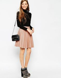 Image 1 of ASOS Pleated Leather Look Skirt