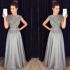 Lace Vintage Long Evening Dress Party Dresses ,O